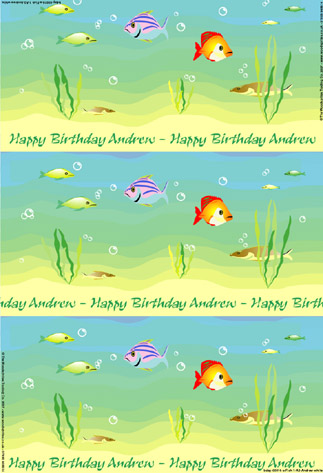 Personalized Birthday Wrapping Paper - Fish